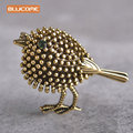 Blucome Vintage bird Brooches Antique Gold Plated Lovely Little Bird Dress Banquet Decoration Women Brooch Hijab Pins jewelry