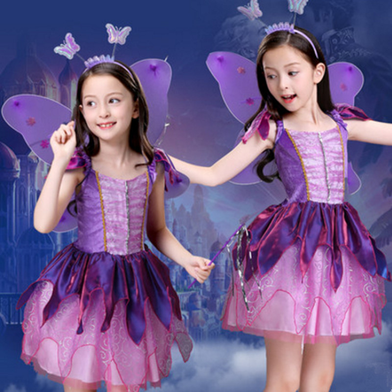 purple fairy dress for girls halloween costume for children butterfly dance costumes  for girls carnival clothing 65f5faa8c37b