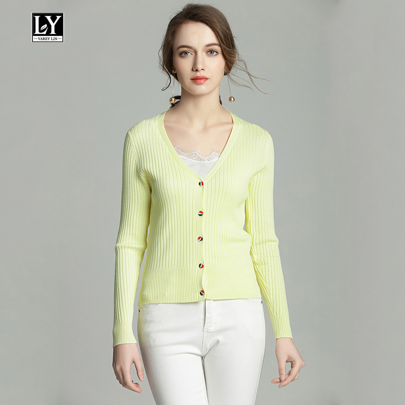 Ly Varey Lin Women Slim Long Sleeve V Neck Knitted Sweater Cardigan Coat Casual Crochet 5 Color Sweater Female Outwear Coats
