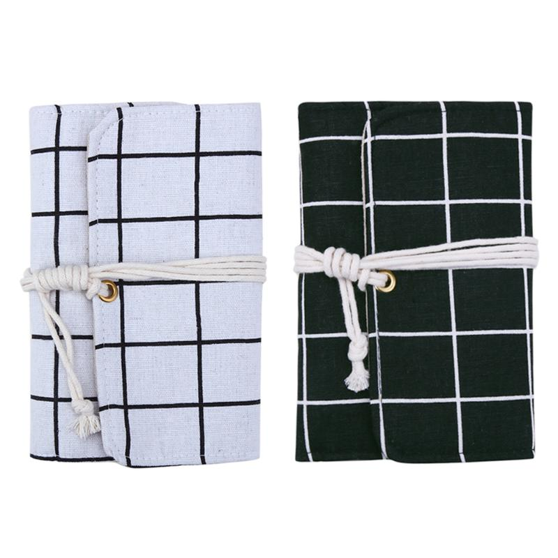 White Black Grid Linen Cover Notebook Agenda Office Stationery Diary Travel Journal Planner Pocketbook Paper Notepad with Rope
