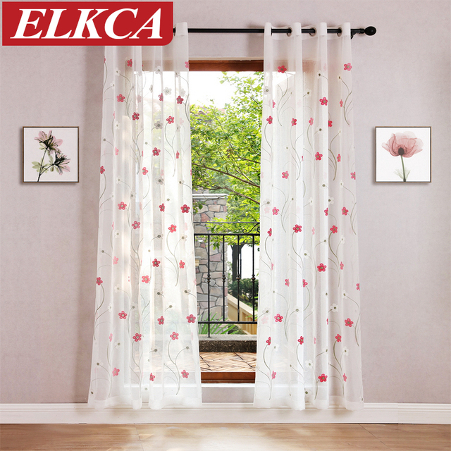 Korean pink flower embroidered voile curtains linen feeling sheer korean pink flower embroidered voile curtains linen feeling sheer curtains for living room kitchen bedroom tulle mightylinksfo