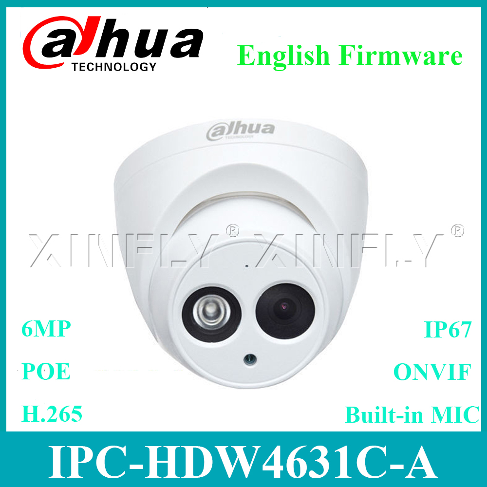 Dahua 6MP IPC-HDW4631C-A IP POE Network Dome Camera IR50m Built-in MIC Replace IPC-HDW4433C-A and IPC-HDW4431C-A With Dahua LOGO