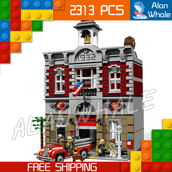 2313pcs Creator Expert Fire Brigade Station Construct 15004 Figure Modular Building Blocks Toys  Toys Compatible with Lago