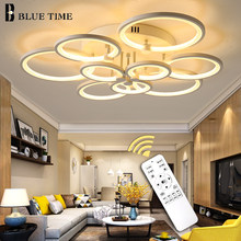 Black&White Rings Modern Led Chandelier Living room Bedroom Dining room Luminaires Ceiling Chandelier Lighting Lampare deco tech(China)