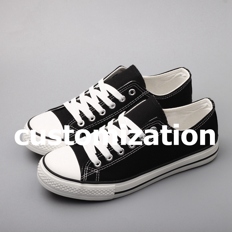 E-LOV Custom Made Casual Canvas Shoes Special Gift Prsonality Logo Hand Printed Lace Up Platform Shoes Couples Shoes Footwear