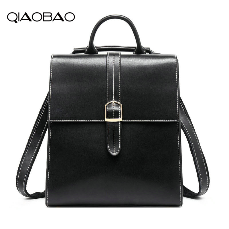 QIAOBAO Simple Style Backpack Women Cow Leather Backpacks For Teenage Girls School Bags Fashion Vintage Solid Black Shoulder Bag simple style backpack women genuine leather shoulder bag for teenage girls fashion vintage rucksack designer school mochila