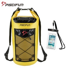 Piscifun 10 40l bolsa seca à prova d água + estojo do telefone flutuante seco, pacote traseiro para esportes aquáticos, pesca, barco, rafting, natação