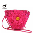 ecosusi 2016 Free Shipping Cute Beach Straw Bags With Flower Women Handbags Cute Cross Body Shoulder Straw Bag For Little Girls