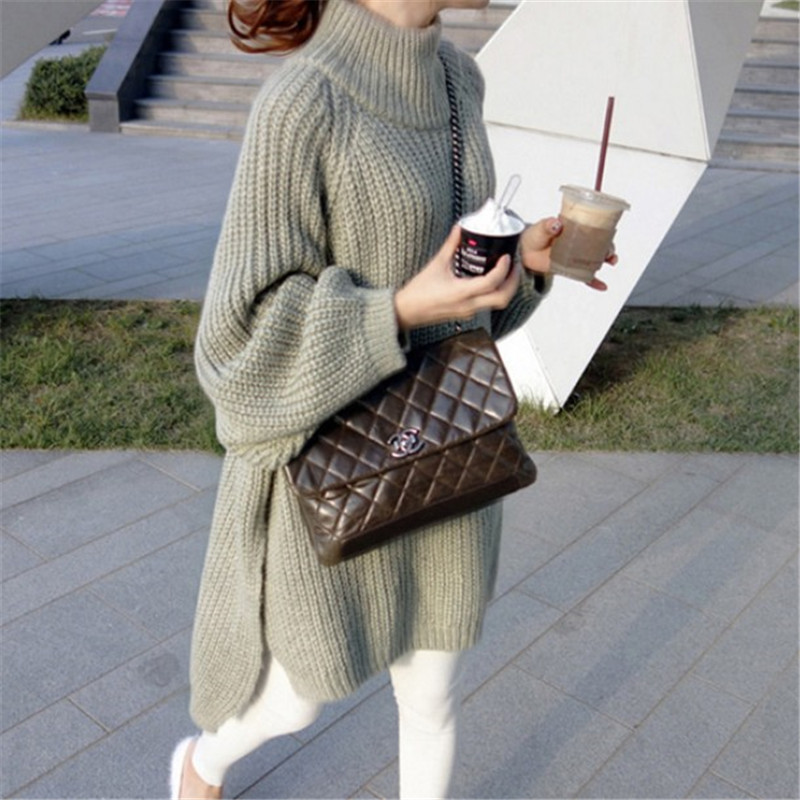 SWYIVY Woman Autumn Sweater Mid Long 2018 Fall Female Knitting Pullovers Long Sleever Warm Girl Fashion Loose Sweater Sweaters