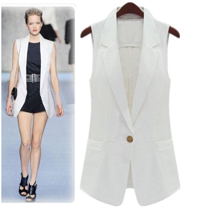 Spring Classic Medium Long Design Women Sleeveless Suit Jacket Black White Workwear Vest