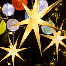 1pc 60cm Large Punched Party Star Hanging Paper with Pattens Wedding Birthday Windows Fireplace Dining Table