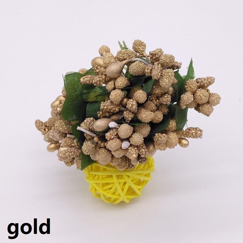 12 шт./лот искусственный цветок пены тычинки Провода стволовых Шелковый цветок розы Свадебный DIY цветочный венок украшения Свадебный букет 8z