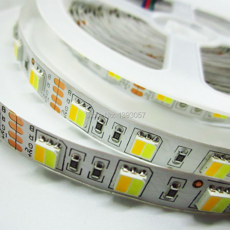 5630 5730 SMD LED strip Non-waterproof DC 12v , warm white and cold white LEDs integrated in one leds 60 LEDs/M 5M/roll