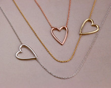 цена на Tiny Line Hollow Out Open Heart pendant Necklaces Simple Wire Wrapped Love Heart family Necklaces for Lovers Couples jewelry