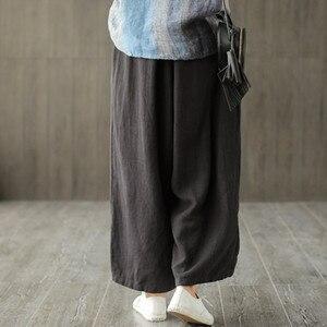 Image 4 - Johnature 2020 新コットンカジュアル足首の長さのリネンルーズ女性パンツファッション春夏ウエストゴムワイド脚パンツ