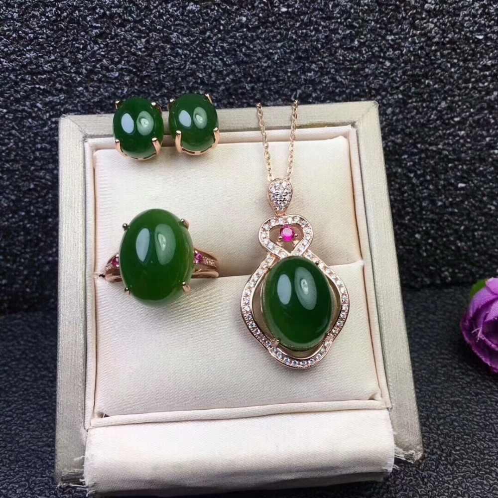 MeiBaPJ Cổ Điển Tự Nhiên Ngọc Bích Nephrite Đá Quý Đồ Trang Sức Thiết Lập 925 Sterling Bạc 3 Siut Đồ Trang Sức Mỹ cho Phụ Nữ