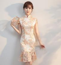 Qipao 2017 New water soluble Lace collar Cheongsam Short retro elegant cheongsam embroidery Girl's Wedding dress