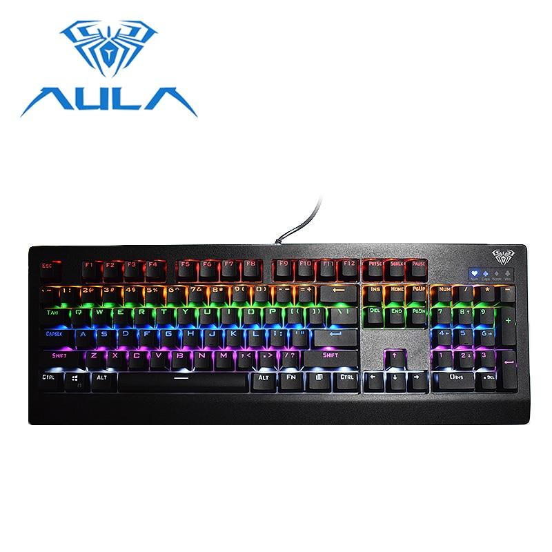AULA gaming keyboard Rainbow LED backlight USB Wired Blue Switch plastic 104 keys Anti-Ghosting mechanical keyboard #886
