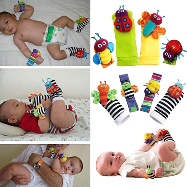 1 Set Plush Toy Wrist Rattle Colorful Bee With Foot Socks Cute For Baby Gift BM88