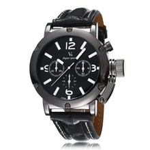 New Arrival V6 Brand Three Eye Men Watch Military Fashion Watches High Quality PU leather Band Quartz Sports Wristwatches