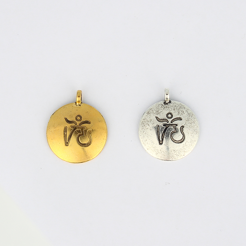 10pcs Antique Silver / Antique Gold Tone Lucky OM OHM AUM YOGA HINDI OMKARA SYMBOL Charm Pendant For Necklace Jewelry Materials