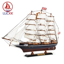 LUCKK 65CM CUTTY SARK Wooden Ships Model Exquisite Home Interior Decoration Crafts Mediterranean Sailboat Ornaments Accessories
