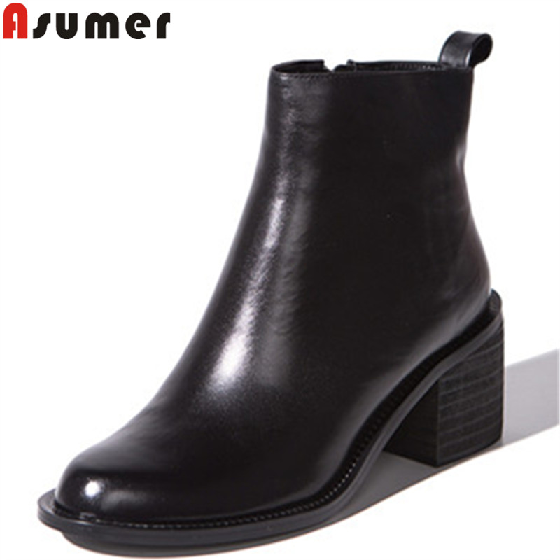 ASUMER 2020 fashion new ankle boots for women round toe zip genuine leather boots square high heels boots black-in Ankle Boots from Shoes    1