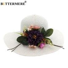 BUTTERMERE White Summer Hat Women Beach Soild Ladies Sun Wide Brim Ribbon Flower Outdoor Breathable Fashion Straw 2019