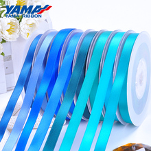 YAMA 50 57 63 75 89 100 mm 100yards/lot for Party Wedding Decoration Handmade Rose Flowers Double Face Satin Ribbon Blue Ribbons