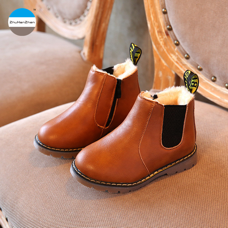 Girls Teen Winter Leather Boots Warm Shoes 4-12 Years Old Children Kids Fashion Butterfly Knot Princess Shoes