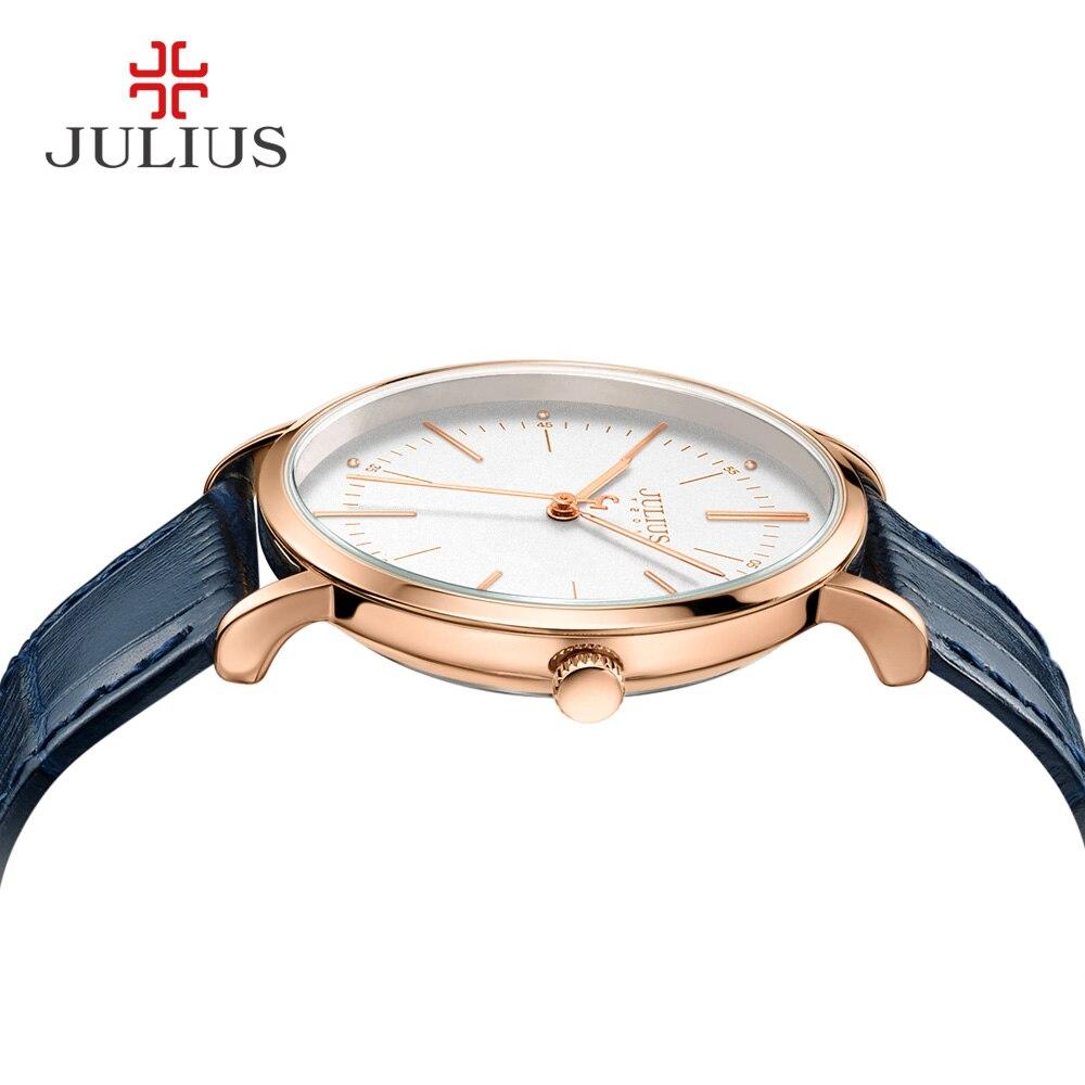 JULIUS zegarek kwarcowy męskie zegarki Top marka luksusowe prosta konstrukcja biznes stylowy skórzany pasek mężczyzna zegar Dropshipping Reloj JA 1003 w Zegarki kwarcowe od Zegarki na  Grupa 3