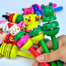High quality Color Send Randomly Baby wooden Toy Cartoon Animal Wooden Handbell Musical Developmental Instrument Kid
