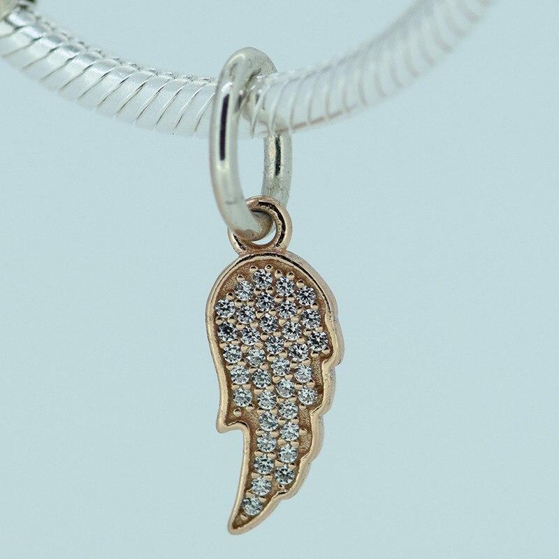 d4faf87c6def Se adapta a Europea encanto pulseras de plata chapado en oro rosa Cuentas  100% Cuentas alas encanto con CZ Piedras sfl050r