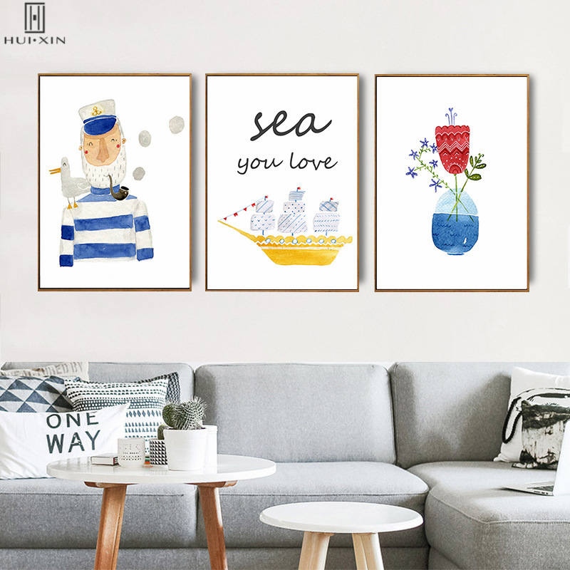 Delicate Presents For Kids Birthday Room Decoration Cartoon Popeye With Sea Gull On His Shoulder Yellow Boat Poster Wall Art