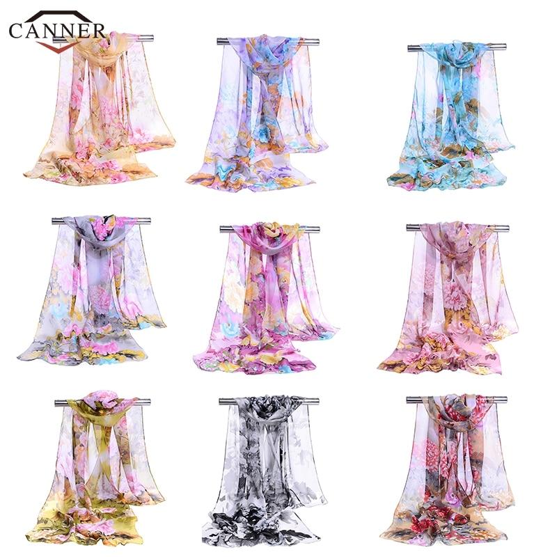 Ladies Elegant Floral Print   Scarf   Shawl Summer Chiffon Scraf Women Thin Long Soft   Wrap   Breathable Chiffon   Scarves   H40