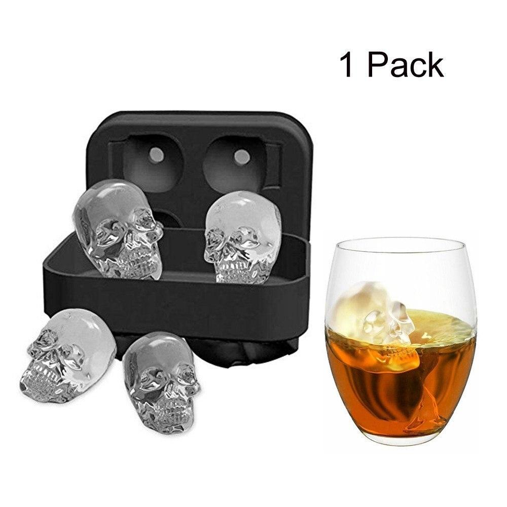 Lot Of 4 Skull Ice Cube Trays Mold Food Grade USA Shipper