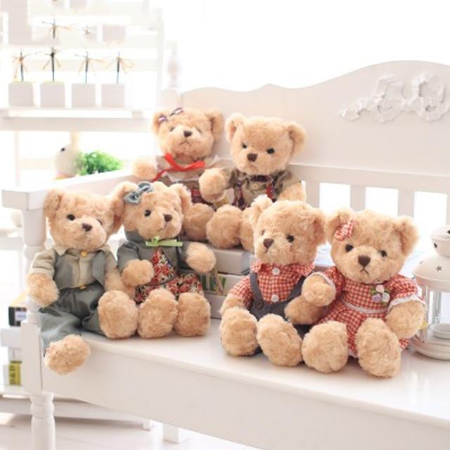 Kawaii Plush Teddy Bear Small Stuffed Bear Boys Girls Style Couple Bear Soft Toys Birthday Valentine Day Wedding Gift