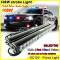 108 W de Alta Potencia Cara Bomberos Policía Vehículo de Emergencia Strobe Luz Intermitente Iluminación 36LED * 3 W Rojo Azul Ámbar barra de Luz de Advertencia