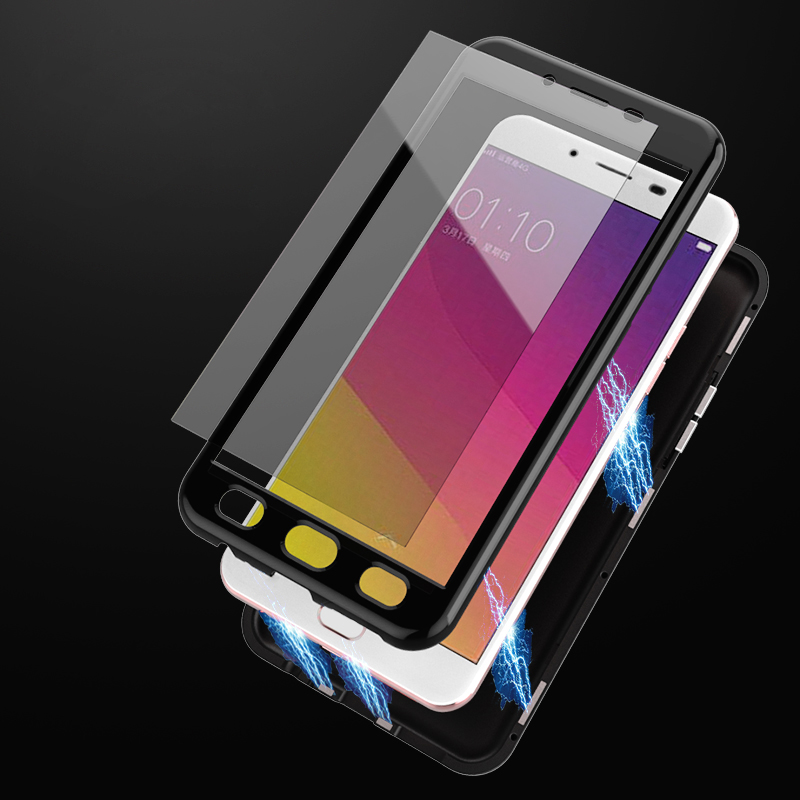 Magnetic Adsorption Case For OPPO R9 Cases Tempered Glass Back Cover For OPPO R9 High end PC Bumper Glass Film For OPPOR9 in Fitted Cases from Cellphones Telecommunications