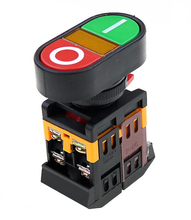 22mm 220V AC ON/OFF START STOP 1 NO NC APBB-22N  Double key double position With LED yellow lamp control button switch reset