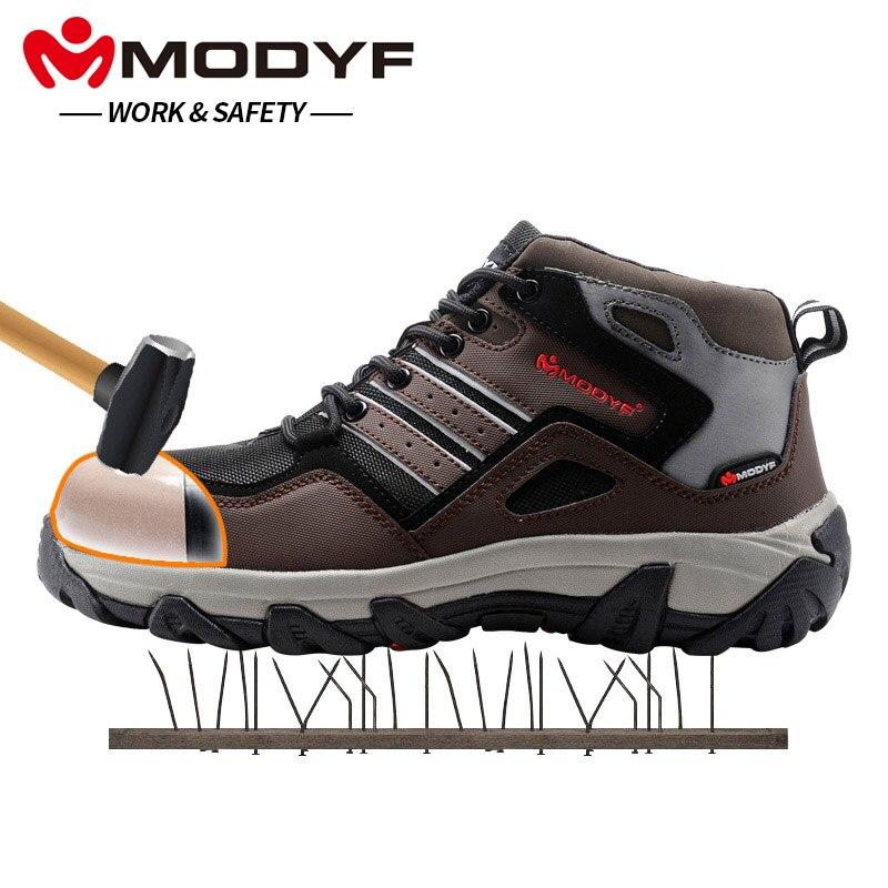 MODYF hombres de punta de acero de seguridad zapatos casuales reflectante botas al aire libre de la punción prueba calzado zapatillas de invierno de piel