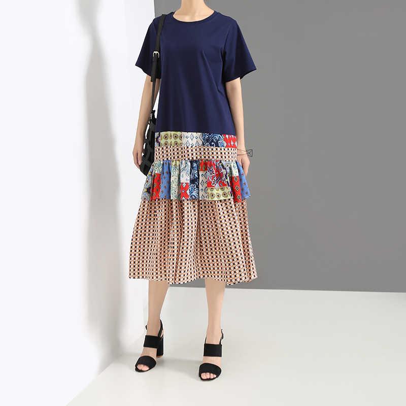 Новинка 2019, женское летнее синее платье в стиле пэчворк, с круглым вырезом, длиной до колена, с разноцветным принтом, подол, милое Повседневное платье миди, халат, Femme 5377