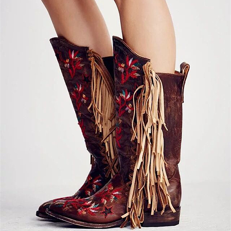 Western Style Tassel Boots Women Handmade Embroidered Boots Cowboy Leather Flat Boots Fahion Knee High Boots Botte Femme Hiver