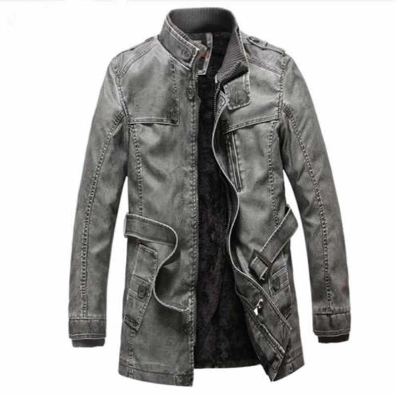 Новый для мужчин s зима из искусственной кожи Moto куртка Сгущает длинный плащ куртки верхняя одежда воротник пальто M-4XL, MA205