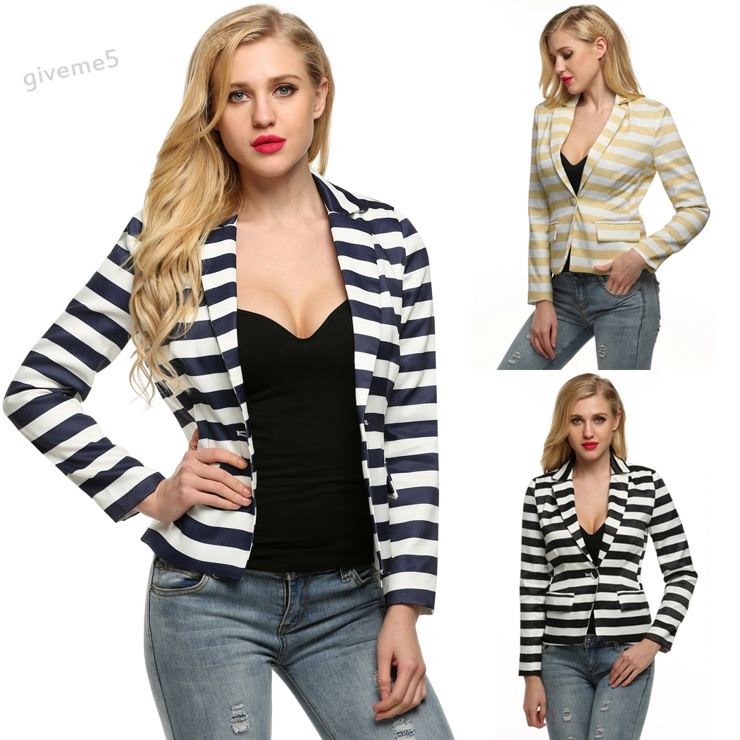 Women Fashion Spring Autumn Slim   Basic     Jacket   Striped Casual Waist Seam Single Button Turn Down Neck Short   Jacket   Coat