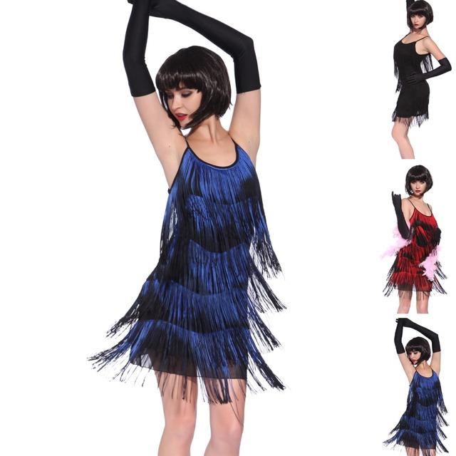 1920's fringe flapper dress for women in blue