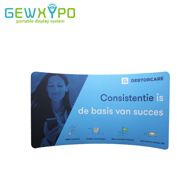 Portable Exhibition Banners : 400*228cm c shape stretch fabric display wall with printed banner
