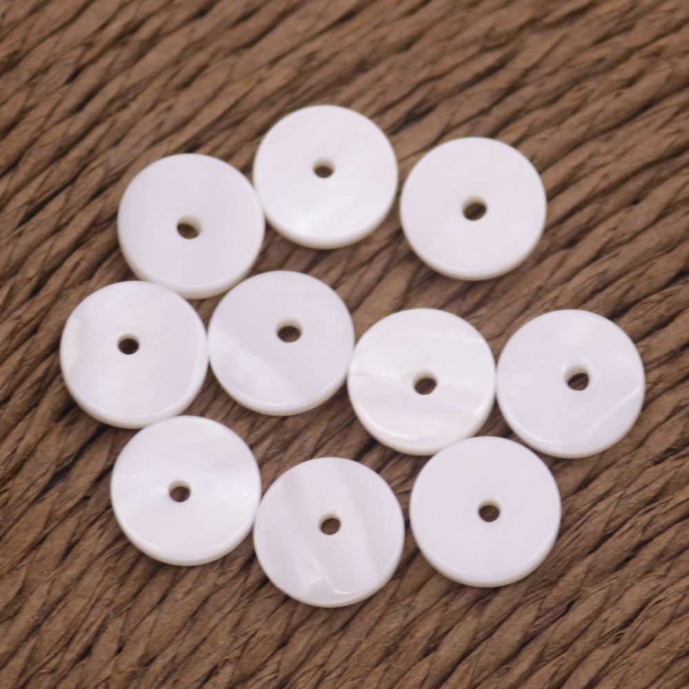 Купить с кэшбэком 10 PCS 8mm Round Coin Shell White Mother of Pearl Jewelry Making DIY