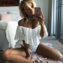 Sibybo Сексуальная с плеча без бретелек Кружева оборками Лето боди Bodycon Ползунки Женщины летние шорты комбинезоны комбинезон