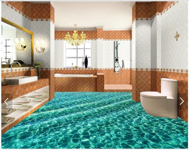 Wallpaper Custom Floor Painting Beautiful Sea Water Ripple Bathroom Murals Living